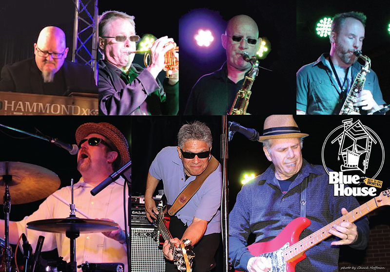 Montage of musicians playing live on stage.